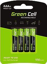 Green Cell 950mAh 1.2V Lot de 4 Piles Rechargeables Ni-MH Type AAA, Préchargée, Haute capacité, Micro Batterie, HR03 Pile, Faible Auto-décharge, BK-4MCCE/8LE