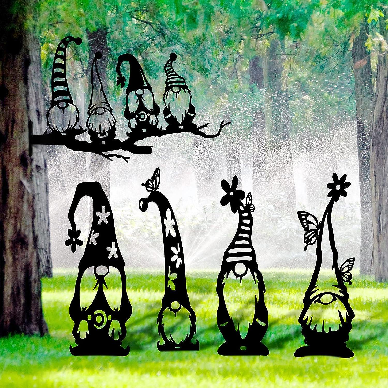 5 Pieces 20.9 Inch Metal Gnome Decoration, Garden Gnome Silhouette Statue, Hollow Branch Gnome Outdoor, Garden Art Decor for Garden Yard Lawm