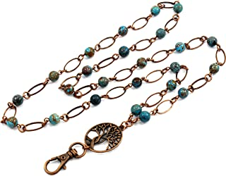 Brenda Elaine Jewelry   Women's Fashion Lanyard Necklace for ID Badge Holders   No Tarnish   Oval and Blue Sky Jasper Pearl Chain with Antique Copper Tree of Life Pendant & No Rear Clasp