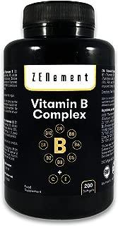 Complejo de Vitaminas B, 200 perlas | Contiene las ocho Vitaminas B (B1, B2, B3, B5, B6, B12, Biotina y Ácido Fólico) + Vit. C y E | Para mejorar la energía, el estado de ánimo y la salud general