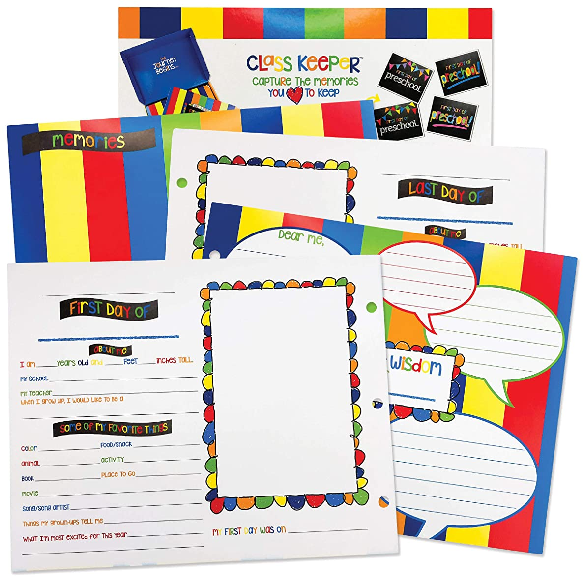 School Memory Scrapbook Refill Extra Pages Kits (2 Grades) for First & Last Day of School for Class Keeper Memory Keepsake Book for Girls and Boys