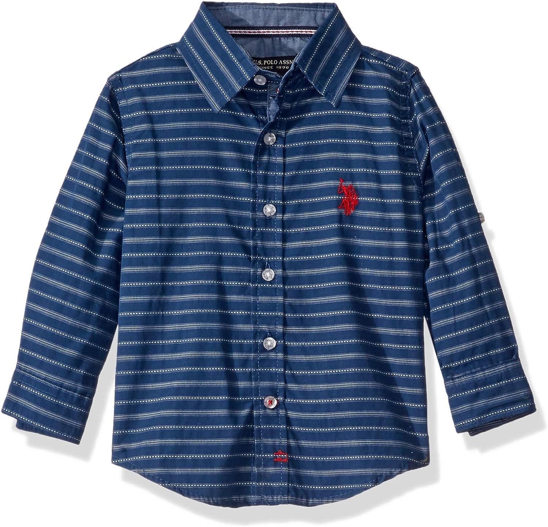 U.S. Polo Assn. Boys' Long Sleeve Mini Stripe Woven Shirt