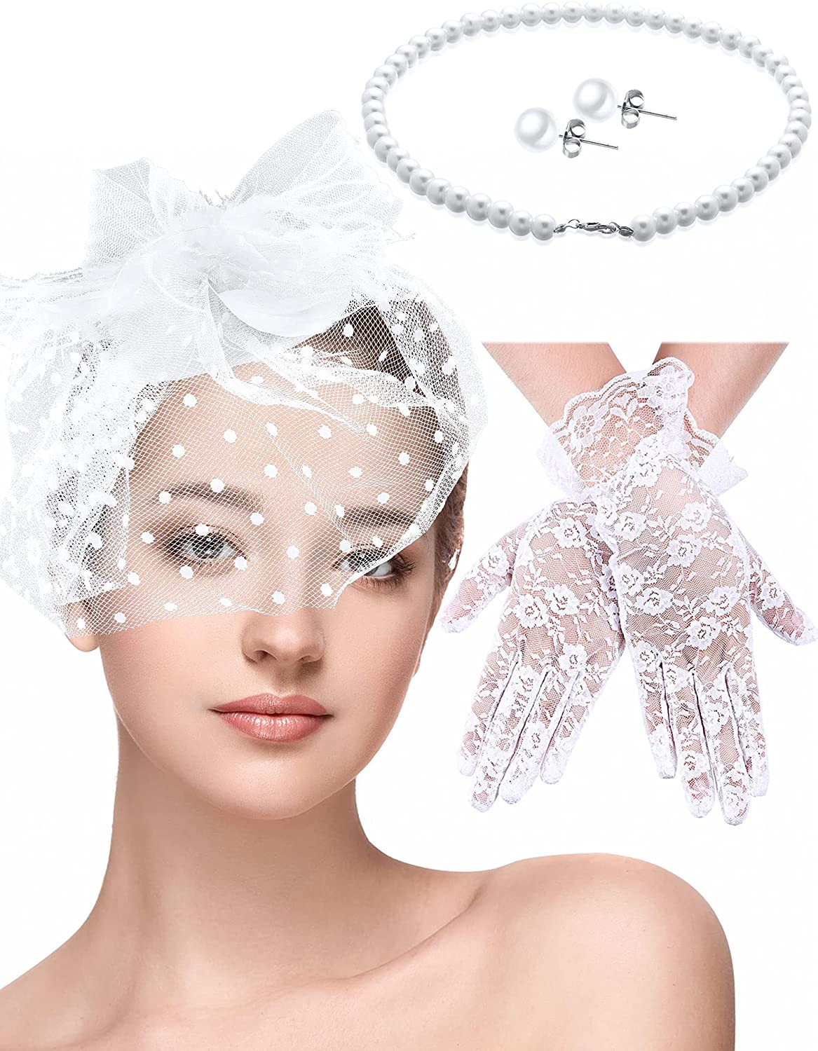 4 Pieces Fascinators Hat Veil Mesh Headband and Short Lace Gloves for Women