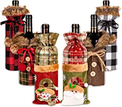 6Pcs Sweater Kerstmis wijnfles Cover Fur Flessenhouder Xmas Champagne Fles Dress Plaid Drink mouwen Button zcaqtajro