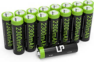 AA Ni-MH Rechargeable Battery Pack, LP 16-Pack Double A Batteries with 2300mAh High Capacity for Clocks, Remotes, Games Controllers, Toys, Digital Cameras, Flashlights, E-Toothbrushes, Shavers &More