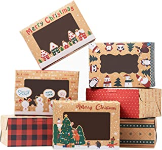TOMNK 18 Pieces Christmas Cookie Boxes Kraft Baking Box with Window for Cupcakes, Candy, Holiday Bakery Treat and Party Fa...