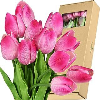 FiveSeasonStuff Tulips Artificial Flowers | Real Touch | Wedding Bouquet Home Décor Party | Floral Arrangements | 15 Stems...