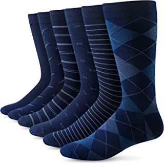 Mens Dress Socks Business Casual Solid Pattern Cotton Crew Sock 6 Pairs