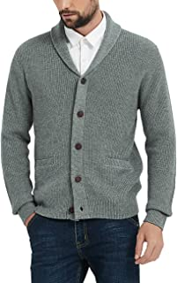 Kallspin Men's Merino Wool Blended Shawl Collar Cardigan Sweater Button Down Knitwear with Pockets