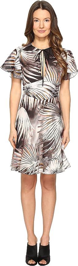 Tie-Dye Palm Print Flutter Sleeve Dress