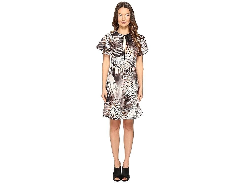 Just Cavalli Tie-Dye Palm Print Flutter Sleeve Dress (Black/White Variant) Women