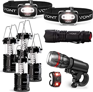 Vont Extreme Outdoor Lighting Bundle - 2-Pack Spark Headlamp + 4-Pack Lantern + 1pc Bike Light + XOR Flashlight - Best for...