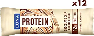 LUNA PROTEIN - Gluten Free Protein Bars - Chocolate Chip Cookie Dough - (1.59 Ounce Snack Bars, 12 Count)
