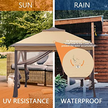 11x11ft Outdoor Pop up Gazebo Canopy with Netting and Solar Lights Waterproof Patio Gazebo Shelter with Ground Nail and Rope(