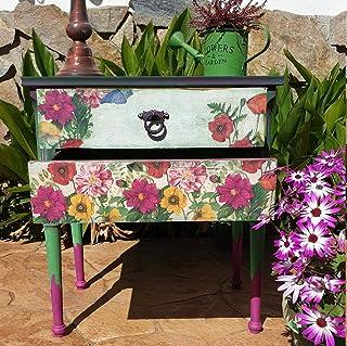 Mesita auxiliar rosa y verde con flores, una mesita hecha a mano de forma artesanal, única, con aires de Mexico, ideal par...