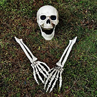 yosager Realistic Skull and Skeleton Arms Stakes, Indoor Outdoor Graveyard Best Halloween Yard Decorations
