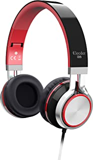 Elecder i39 Headphones with Microphone Foldable Lightweight Adjustable On Ear Headsets with 3.5mm Jack for iPad Cellphones Computer MP3/4 Kindle Airplane School Red/Black