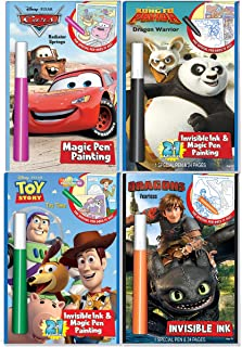 Disney's Characters Magic Pen Painting Activity Books, Set for Boys. Includes: 1 toy story, 1 cars, 1 Kung Fu Panda , 1 dragons, Invisible Ink & Magic Pen Painting