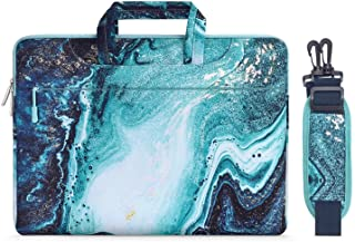 MOSISO Laptop Hülle Tasche Kompatibel mit 13-13,3 Zoll MacBook Pro, MacBook Air, Notebook Computer,Segeltuch Marmor Mustert Tragetasche Aktentasche, Blau & Gold
