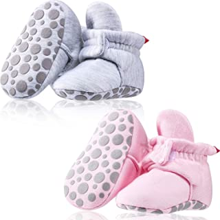 2 Pairs Baby Fleece Booties Stay On Slipper Sock Crib Shoes with Non Skid Bottom (Cotton Style)