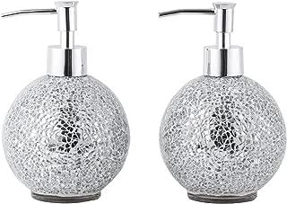 WH Housewares Set of 2 Soap Dispenser-Lotion Bottle-Mosaic Glass Chrome Plated Plastic Pump-14 Ounce (Mirror)