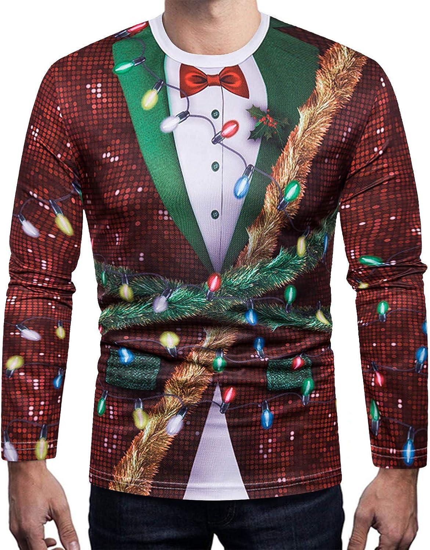 NREALY Men Autumn Christmas 3D Printed Regular Top Tee Outwear Blouse