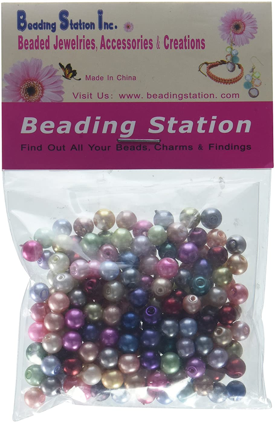 Beading Station 200-Piece Mix Satin Luster Glass Pearl Round Beads, 6mm