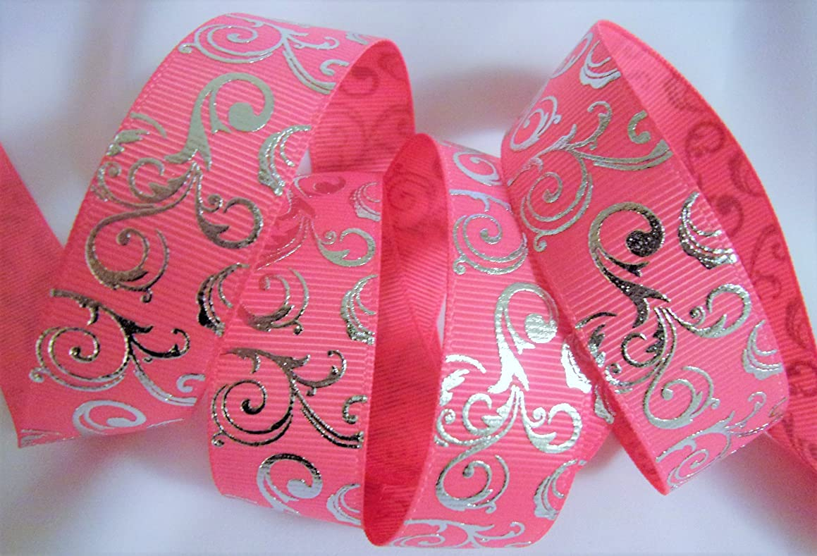 Hot Pink With Silver Swirl Printed Grosgrain Ribbon - 7/8