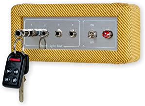 Handcrafted Guitar Amp Wall Mounted Key Holder with 4 Keychains by Droplight Ind. (Tweed)