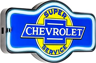 Officially Licensed Chevrolet Super Service LED Sign, New Improved Now with 6' Wall Plug Cord! LED Light Rope That Looks Like Neon, Wall Decor for Bar, Garage, or Man Cave