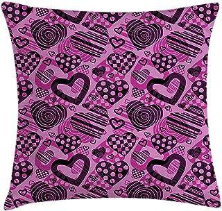 4Pcs 18X18 Inch Funda De Cojín De Almohada Para El Día De San Valentín,Forma De Corazón En Diferentes Formas Círculo A Cuadros Y Estilo Espiral,Funda De Almohada Decorativa Cuadrada Para El Hogar