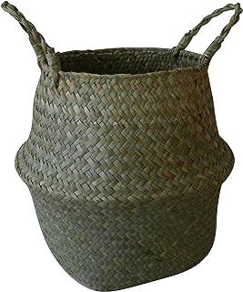 CVHOMEDECO. Panier de ventre en jonc de mer naturel avec poignées panier à linge de rangement pot de plante de jardin pépi...