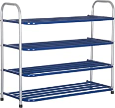 Benesta Multi-Purpose Steel Shoe Rack - (4 Tier, Silver/Blue)