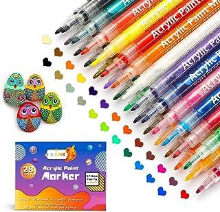 Marqueurs Peinture Acrylique, 0,7 mm Peinture Acryliques 28 Couleurs, marqueur Permanent pour céramique, Verre, stylos de ...