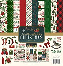 Echo Park - TWAS The Night Before Christmas Volume 2 - Holiday Vintage/Antique Theme - Red/Navy Blue/Green/White - Features Poinsettias, Wreath, Christmas Trees, Stockings, Candy Canes, Santa Claus