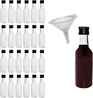 Mini Liquor Bottles (24 Pack) - 55ml Plastic Empty Liquor Bottles with Black Cap and Liquid Funnel for Pouring Liquid - Miniature Bottles for Weddings, Party Favors, Arts, Paints and Events