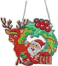 5D DIY God jul diamant målning konst, trä hängande krans kristallkrans mosaik kit för hemvägg dekor gåva vuxna och barn (S...