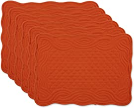 DII Quilted Farmhouse Collection Tabletop, Placemat Set, Pumpkin Spice 6 Piece