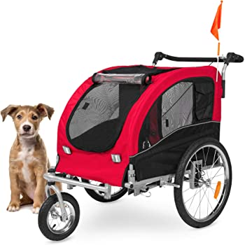 Best Choice Products 2-in-1 Pet Stroller and Trailer, Red, w/Hitch, Suspension, Safety Flag, and Reflectors