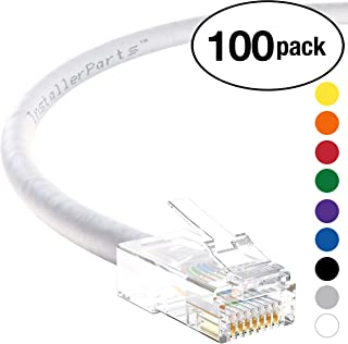 InstallerParts (100 Pack) Ethernet Cable CAT6 Cable UTP Non-Booted 1.5 FT - White - Professional Series - 10Gigabit/Sec Network/High Speed Internet Cable, 550MHZ
