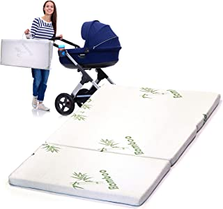 Tri-Fold Pack N' Play Bamboo Mattress – Collapsible Crib Cushion Play Mat – Machine Washable Play Pad Playpen Mattresses, 38 x 25.5 x 1.5 Inch