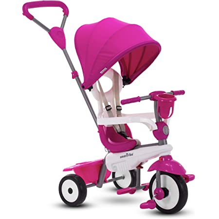 Kids Push Ride Tricycle for Boys Girls 【US Spot】 Baby Tricycle Storage Bag 5-in-1 Foldable Steer Stroller Pedal Safety Harness Learning Bike W//Adjustable Push Handle,Removable Canopy