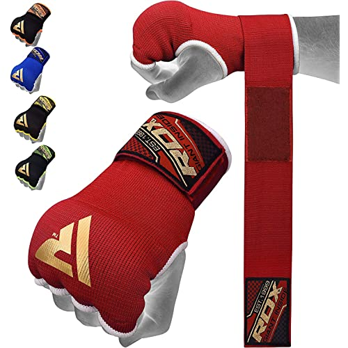 RDX Boxing Hand Wraps Inner Gloves for Punching – Fist Protection – Elasticated Padded Under Mitts with Quick Long Wrist Wrap – Great for MMA, Muay Thai, Kickboxing & Martial Arts Training