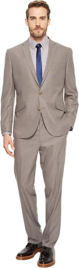 Stretch Slim Fit Textured Pin Dot Suit