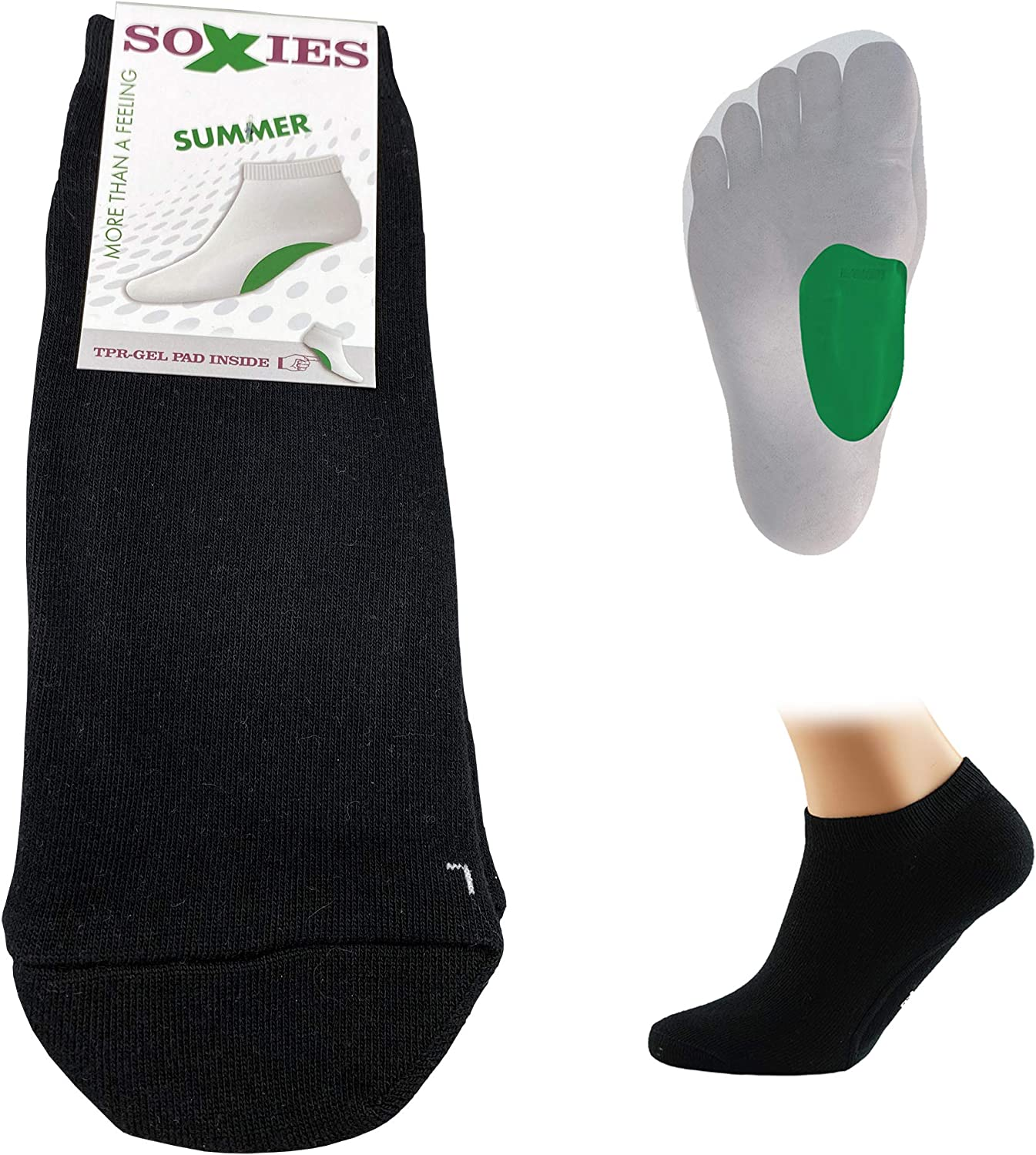 SoXies Summer - Socks with ergonomical Arch Support reduces Heel Spur Plantar Fasciitis Flat Foot Pain & Foot Ache