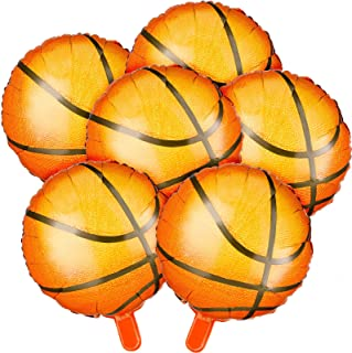 6 Pieces Set 18 Inch Basketball Balloons Party Supplies Aluminum Foil Balloon Sport Party Balloons for Birthday Sports The...