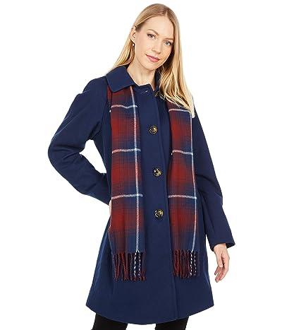 London Fog Short Button Front Wool Coat (Sapphire) Women