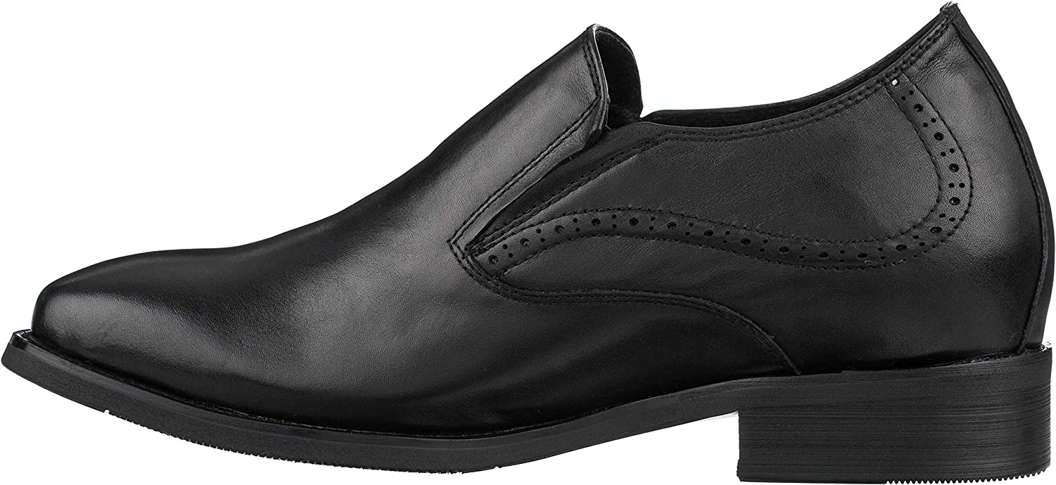 CALTO Men's Invisible Height Increasing Elevator Shoes - Black Premium Leather Lightweight Slip-on Brogue Loafers - 3.2 Inches Taller - J98803