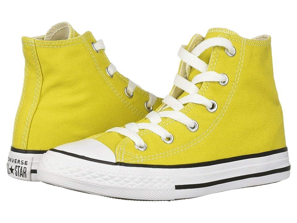 Converse Kids Chuck Taylor(r) All Star(r) Seasonal Hi (Little Kid/Big Kid) (Bold Citron/Natural Ivory/White) Girl