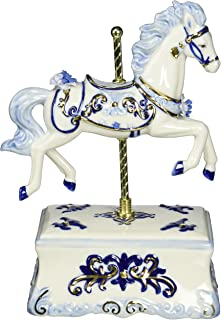 Cosmos 80111 Fine Porcelain Carousel Horse Musical Figurine, 8-1/2-Inch, Blue